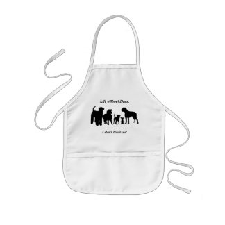 Dogs breed group black silhouette kids apron