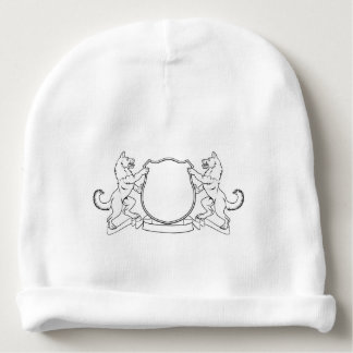 Dogs Crest Coat of Arms Heraldic Shield Baby Beanie