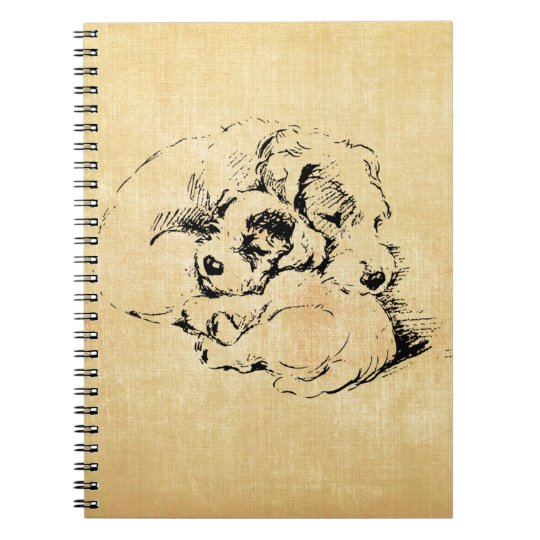 Dogs Cuddly Pets, Beige Orange Texture Look Notebooks