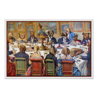 Dogs Dinner Party - Artist Unknown Poster