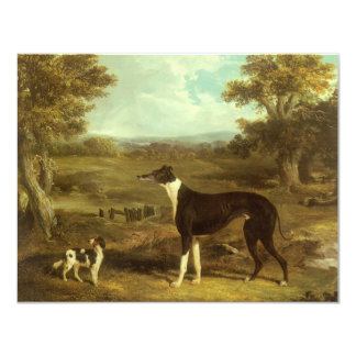 Dogs, Greyhound and Spaniel, Doctor Fop by Herring 11 Cm X 14 Cm Invitation Card