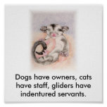 Dogs have owners, cats have staff, glider... poster