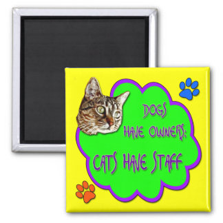 Dogs Have Owners, Cats Have Staff Square Magnet
