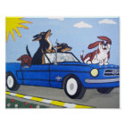 Dogs in Blue Mustang Summer Cruising Poster