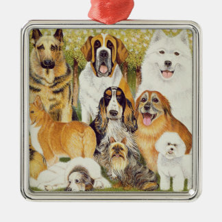 Dogs in May Silver-Colored Square Decoration