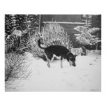Dogs in park landscape painting realist art perfect poster