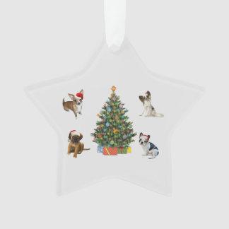 Dogs In Santa Hats Ornament