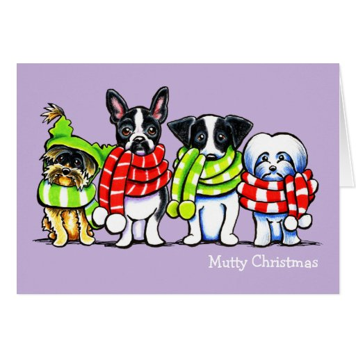 Dogs in Scarves Funny Custom Christmas Greeting Cards