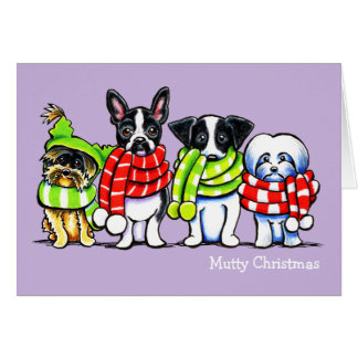 Dogs in Scarves Funny Custom Christmas Greeting Card