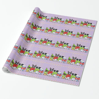 Dogs in Scarves Winter Christmas Holiday Gift Wrapping Paper
