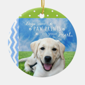 Dogs leave paw prints on your heart christmas ornament