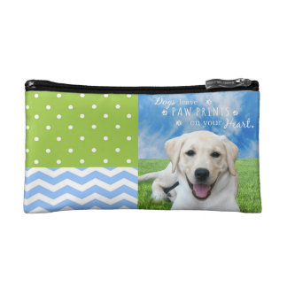 Dogs leave paw prints on your heart makeup bag