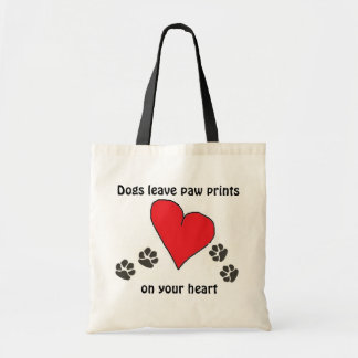 Dogs Leave Paw Prints on Your Heart Budget Tote Bag