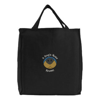 Dog's Nose Embroidered Tote Bag