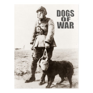 Dogs of War wearing gas mask Postcard