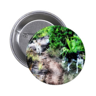 Dogs on a path 6 cm round badge
