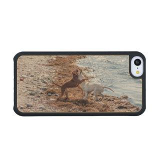 Dogs on beach maple iPhone 5C slim case