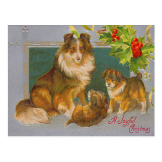 Dogs On Christmas Postcard