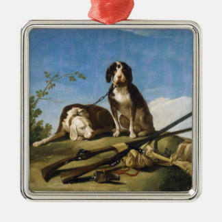 Dogs on leash Francisco José de Goya masterpiece Silver-Colored Square Decoration