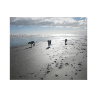 Dogs on the Beach Canvas Canvas Print