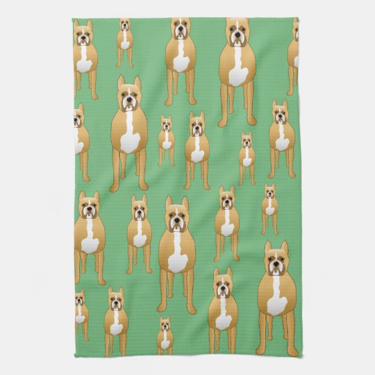 Dogs Pattern, Boxers on Green. Tea Towel