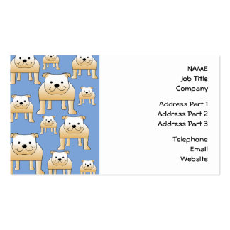 Dogs Pattern. Fawn Bulldogs on Blue. Double-Sided Standard Business Cards (Pack Of 100)