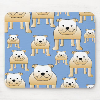 Dogs Pattern. Fawn Bulldogs on Blue. Mouse Pad