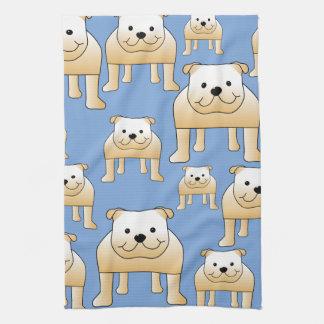 Dogs Pattern. Fawn Bulldogs on Blue. Tea Towel