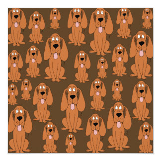 Dogs Pattern. Hounds, on Brown. 13 Cm X 13 Cm Square Invitation Card