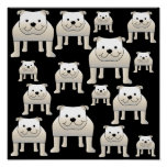 Dogs Pattern. White Bulldogs on Black. Poster
