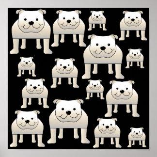 Dogs Pattern. White Bulldogs on Black. Poster