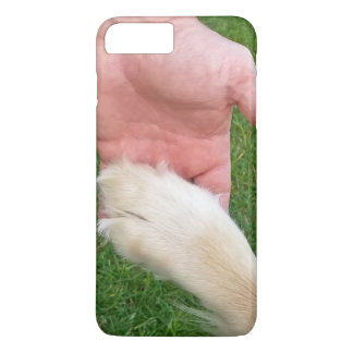 dog's paw in man's hand iPhone 8 plus/7 plus case