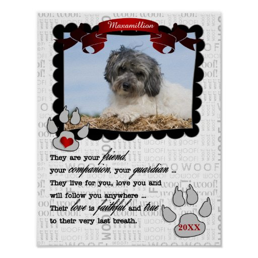 Dog's Photo with Name and Poem Pet Memorial