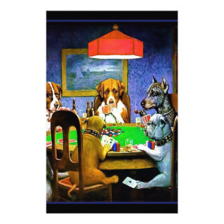 Dogs Playing a Game of Poker Personalized Stationery