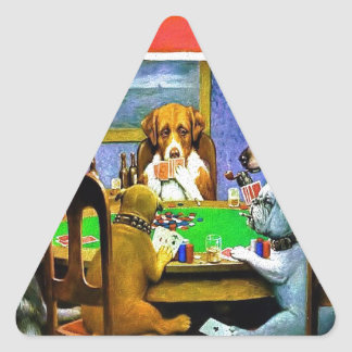 Dogs Playing a Game of Poker Triangle Sticker
