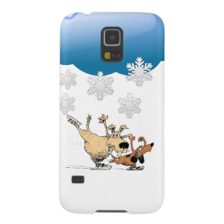 Dogs Playing And Ice Skating -Design On Iphones Galaxy S5 Cases