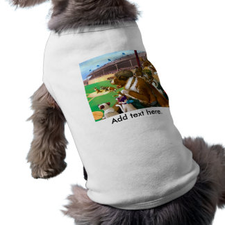 Dogs Playing Baseball Sleeveless Dog Shirt