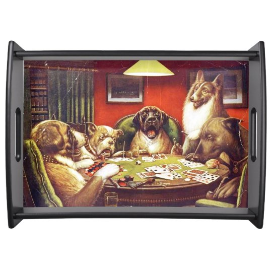 Dogs Playing Cards serving tray