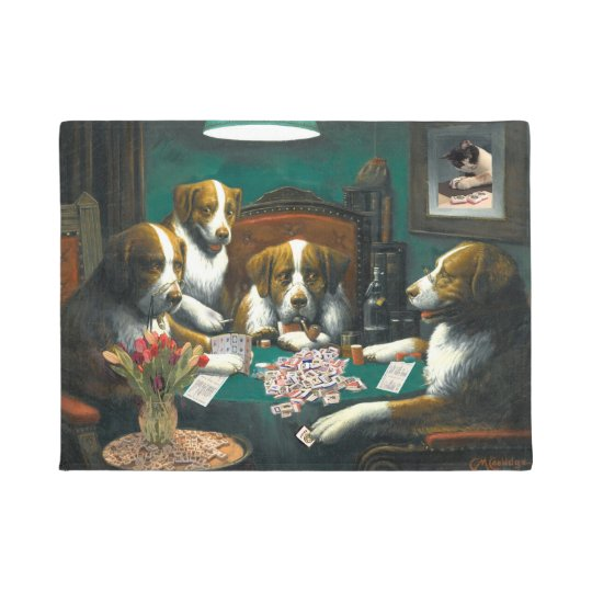 Dogs Playing Mahj Doormat