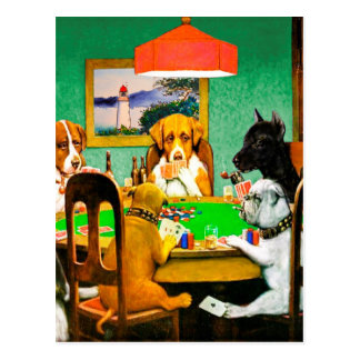 Dogs Playing Poker Card Postcard