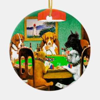 Dogs Playing Poker Cards Game Round Ceramic Decoration