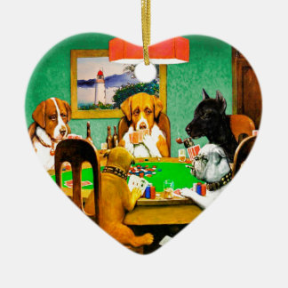Dogs Playing Poker Christmas Ornament
