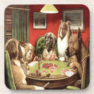 Dogs Playing Poker Cork Coasters Set 2