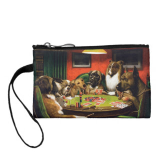 Dogs playing poker - funny dogs -dog art coin purse