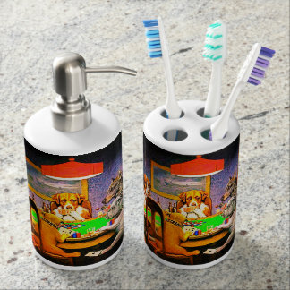 Dogs Playing Poker Soap Dispenser And Toothbrush Holder
