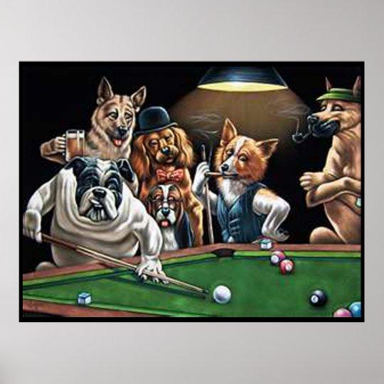 Dogs Playing Pool - Bulldog Up Poster