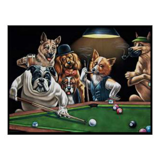 Dogs Playing Pool - Bulldog Up Poster