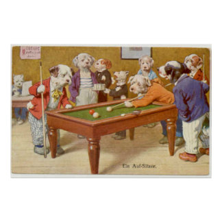 Dogs Playing Pool - Ein Aufsitzen Poster