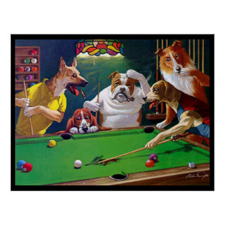 Dogs Playing Pool - Jack the Ripper Poster