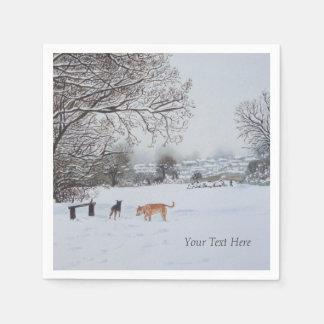 dogs playing snow scene original landscape art disposable serviettes